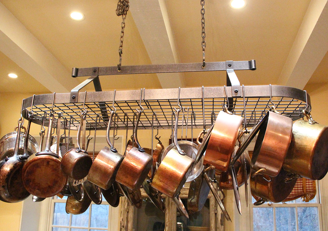 with bookshelf hanging enclume your cookware decorati kitchen old modern iron rack coordinate racks overhead pot dutch and cast style lighted sliding rooster