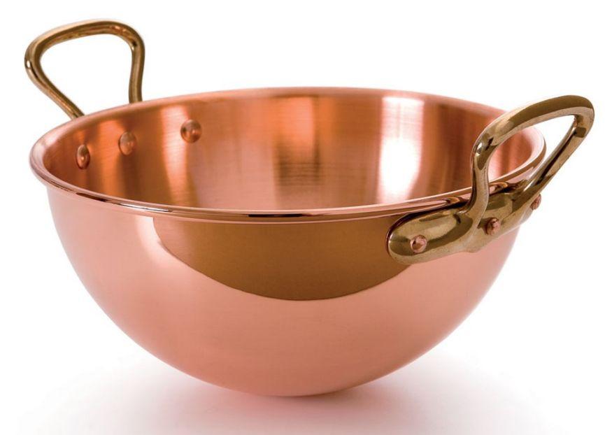 """Mauviel Egg White Bowl w/Bronze Handles - 10"""""""