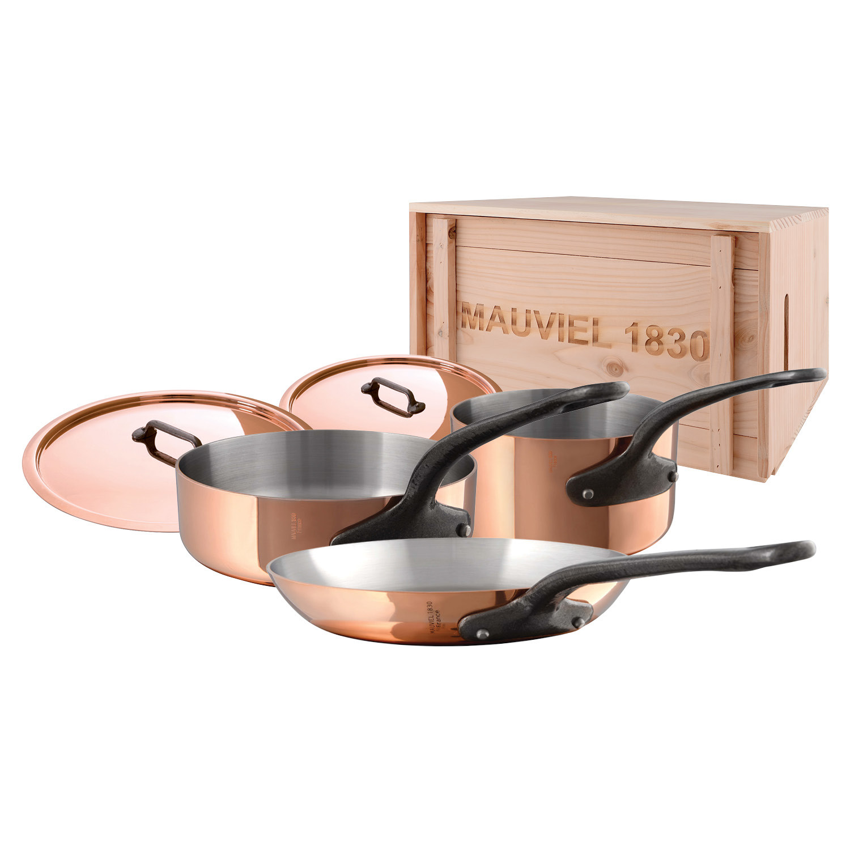 Mauviel M'250C- 5pc. Copper Set - S.S. Interior - Professional Series 2.5mm - Cast Iron Handles