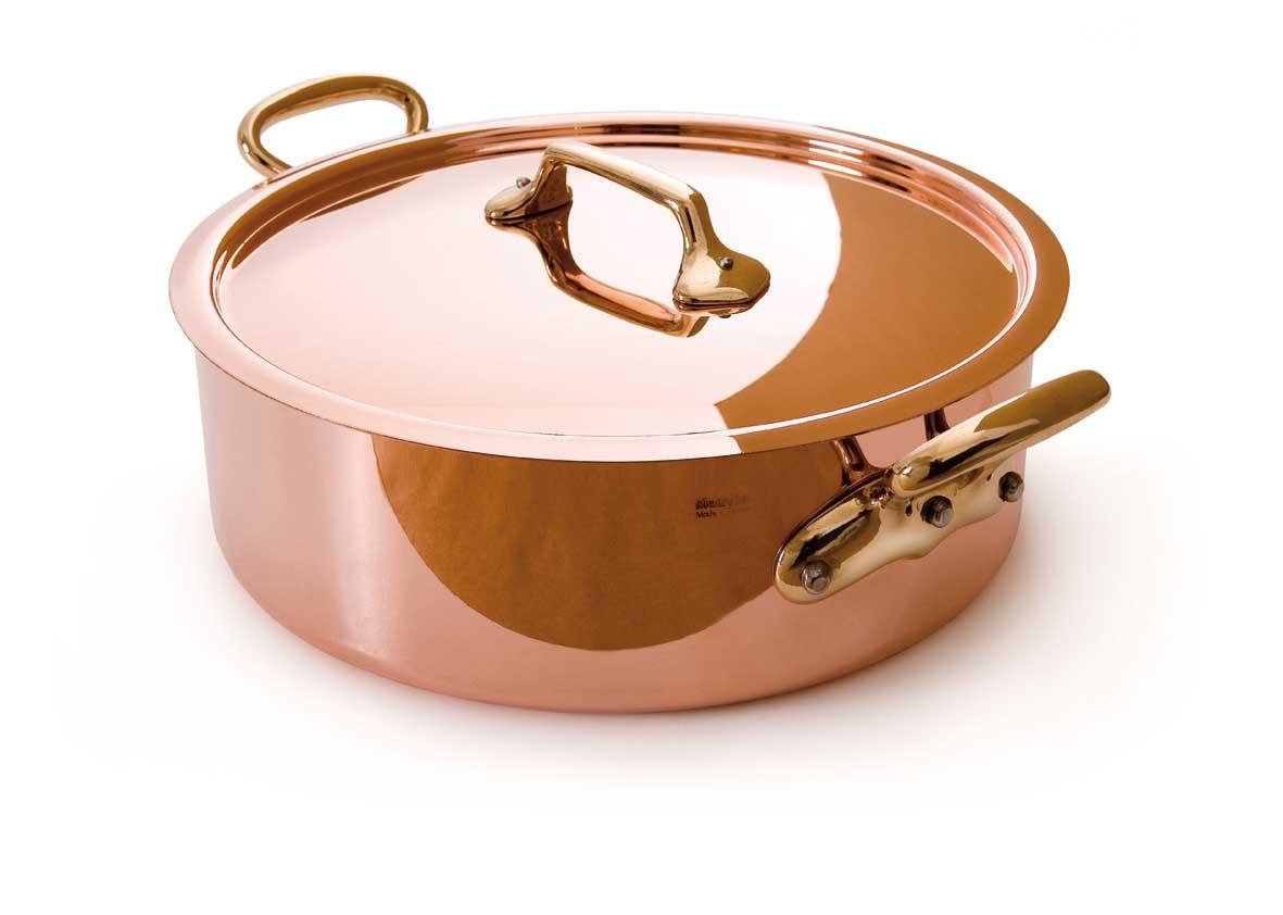 """Mauviel Rondeau & Lid 9.5"""" - 2.5mm copper bronze handles s.s. lined"""