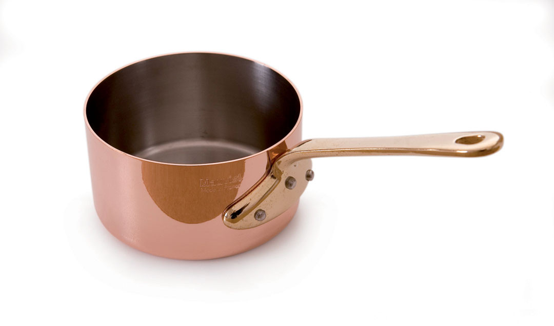 "Mauviel Mini Copper Sauce Pan - 3.5""  lined with stainless steel. Holds 8 oz.sizes are measured across the top of the pan"