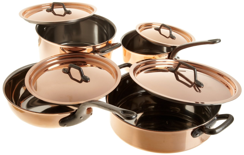 8 Pc. Bourgeat Copper  2.5 mm Set - S.S. Lined - Cast Iron Handles