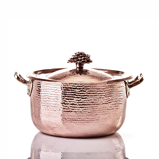 "Sauce Pot- 9"" w Flower Lid"