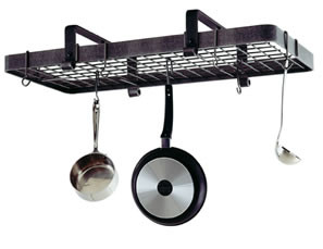 Enclume Low Ceiling Rectangle Rack with Grid in Hammered Steel