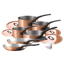 Mauviel M'250C- 10pc. Copper Set - S.S. Interior - Professional Series 2.5mm - Cast Iron Handles