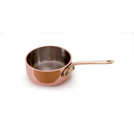 Mauviel Mini Copper Saute  lined with stainless steel. On average these hold 4 ozs. Sizes are measured across the top of the pan - 2.75""