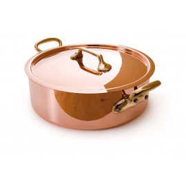 "Mauviel Rondeau & Lid 9.5"" - 2.5mm copper bronze handles s.s. lined"