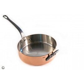 M'250c Mauviel Saute Pan - Professional Series  Steel Lined Cast Iron Handle and additional Helper Handle - 9.5""