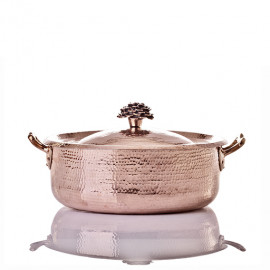 "Saute Pan Brazier - 9"" w Flower Handle Lid"