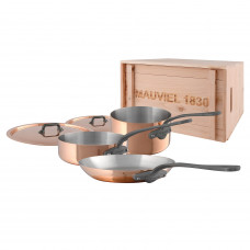M'150c2 - 5 pc. Copper Set - 1.5mm  S.S. Interior with Cast Iron Finish Handles in a Wood Crate